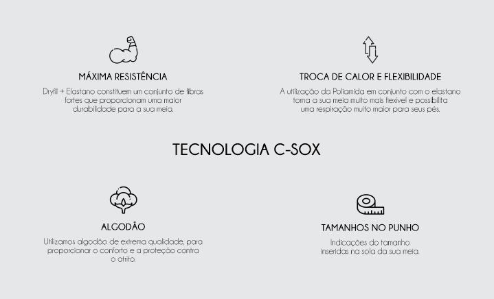 C-SOX meias estampadas personalizadas com tecnologia têxtil